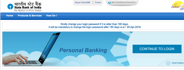 Continue to Login OnlineSBI