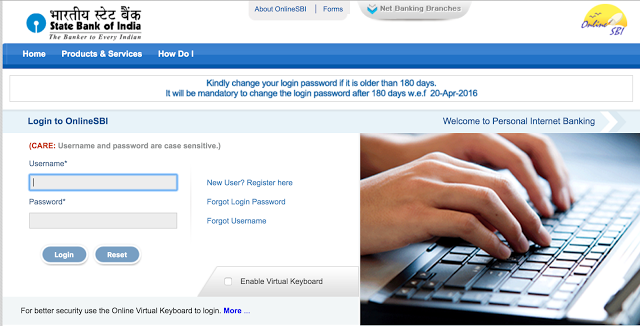 OnlineSbi Username and password