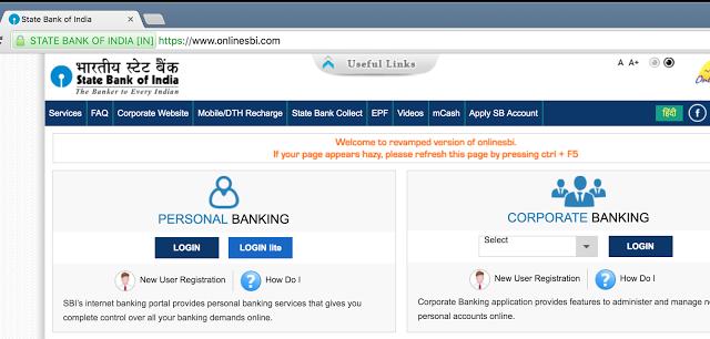 Online SBI login first time