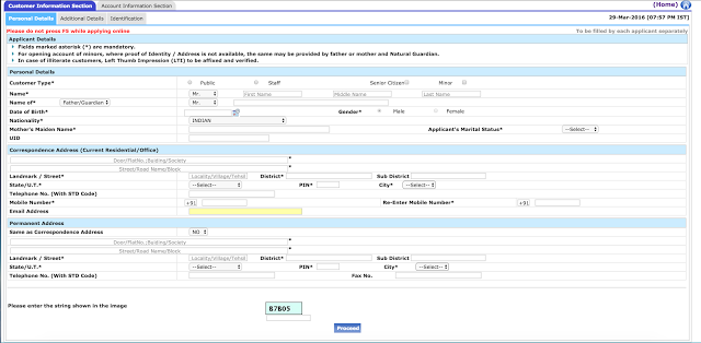 Steps to fill SBI Account Opening Form