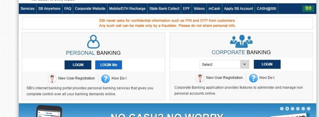 One can access official website of SBI Internet Banking which is at sbionline.com to use Corporate Banking login which gives facility to control non-personal SBI account online via desktop/ laptop or mobile