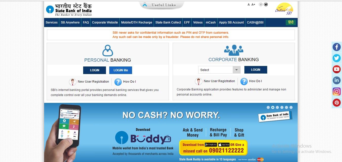 sbi net banking corporate