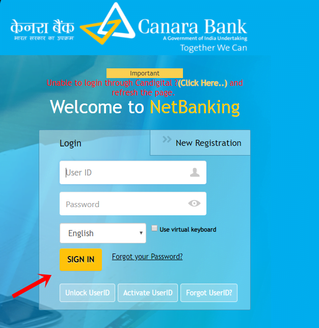 welcome to net banking
