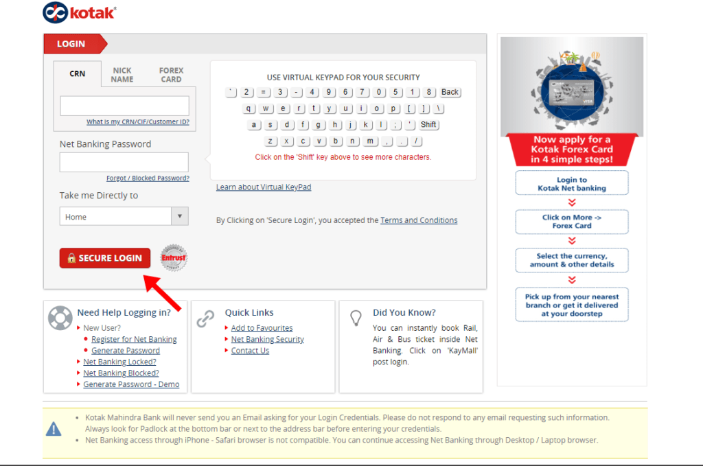 login kotak mahindra bank account