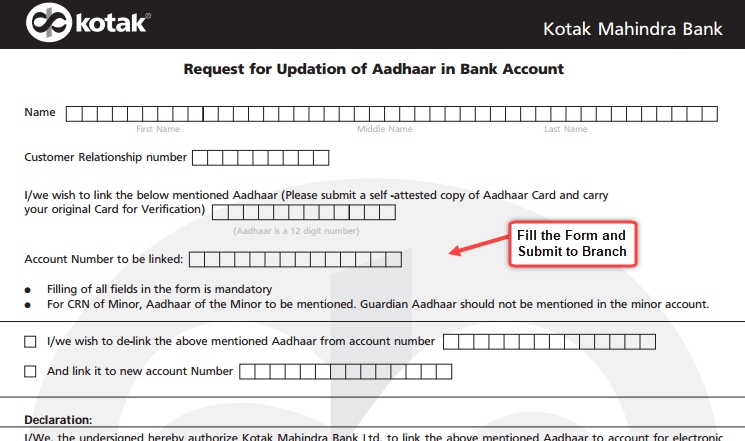 kotak adhar linking form