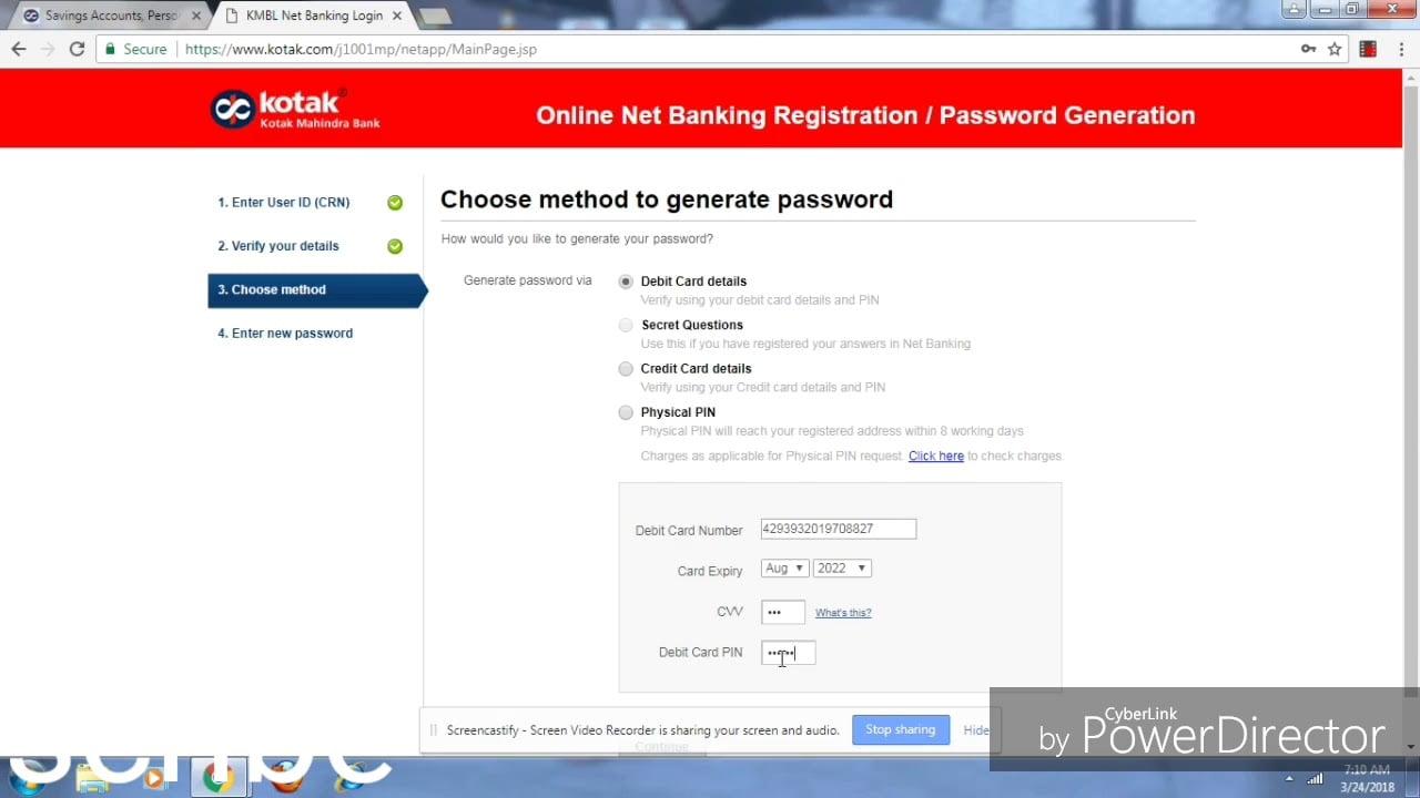 kotak forget password